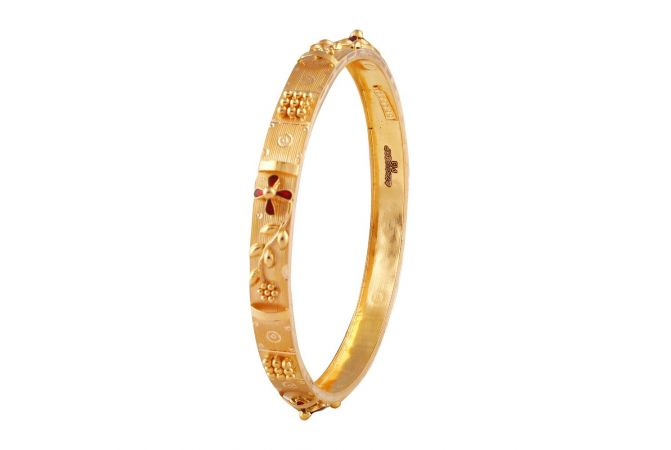 Matte Glossy Finish Embossed Floral Beads Enamel Gold Bangle-FC-214774
