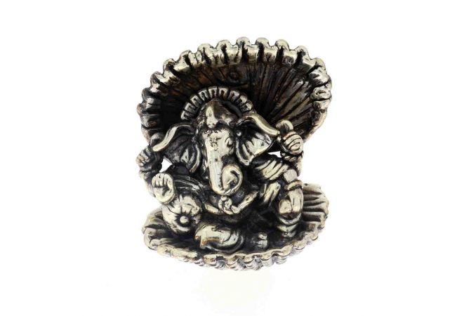 Antique Oxidized Hallow Lord Ganesha Design Silver Artifact Murti