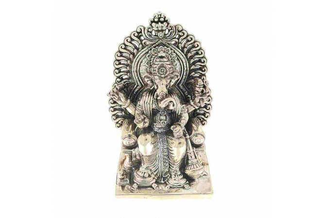 Antique Oxidized Finish Lalbuag Cha Raja Ganesh Silver Artifact Murti
