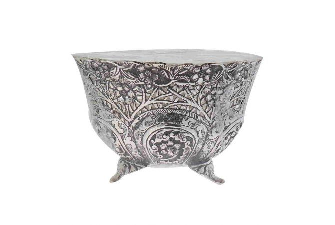 Antique Oxidized Finish Floral Design Silver Artifact Katora