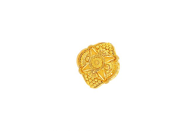 Ceremonial Textured Embossed Gold Ring