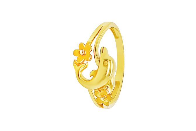 Charming Dolphin Floral Gold Ring