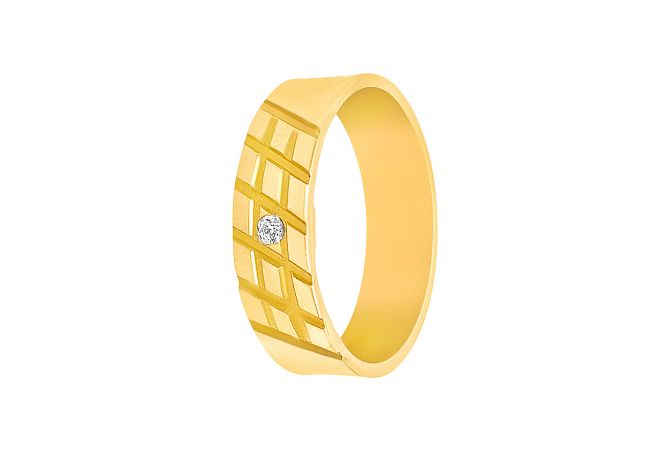 Delicate Grooved CZ Diamond Gold Band For Her