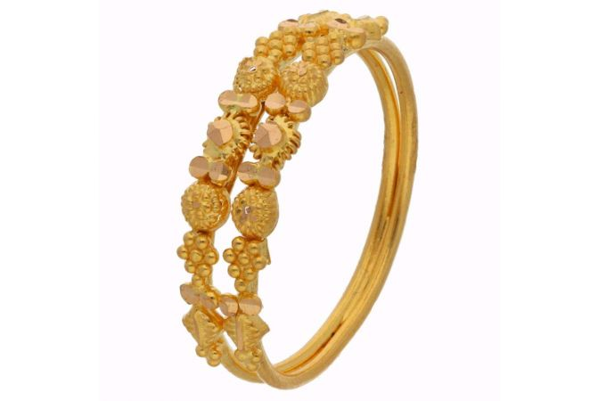 Embossed Gold Beads Floral Gold Ring - FR9455