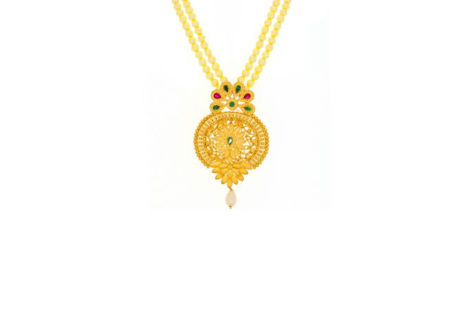 Traditional Gold Filigree Gemstone Bead Necklace