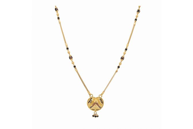 Matte Glossy Finish Enamel Heart Design Gold Mangalsutra-G5546