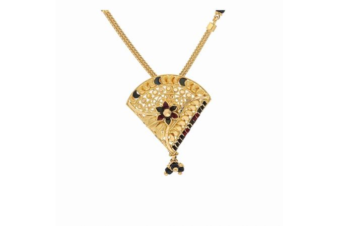 Matte Glossy Finish Floral Enamel Gold Mangalsutra-G7177