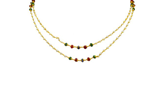 22kt Multicolour Stone With Pearl Beads Two Line Gold Necklace- GCND-4824