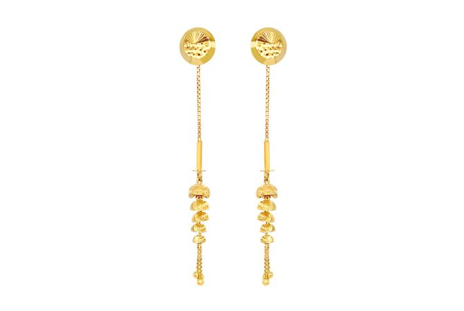 Classy Textured Sui Dhaga Gold Earrings