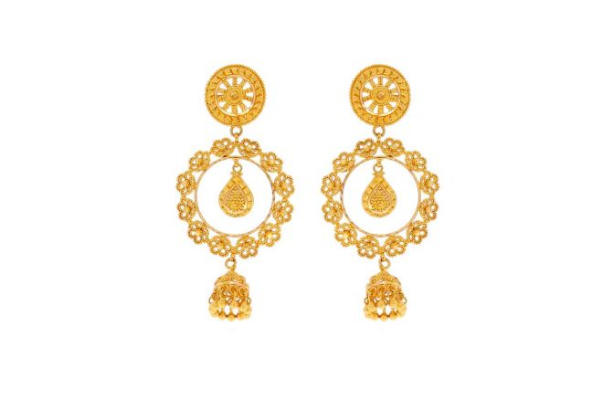 Glossy Finish Embossed Bead Ball Floral Drop Chandelier Design Gold Earrings