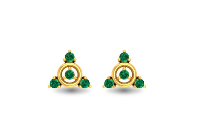 Glossy Finish Classy Design Studded With Synthetic Colour Stone Stud Gold Earrings