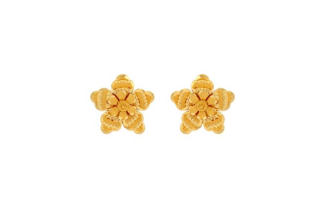 Glossy Finish Diamond Cut Floral Design Gold Earrings
