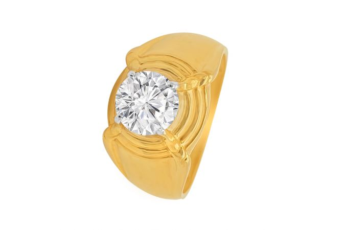 Traditional Single CZ Gold Ring For Him