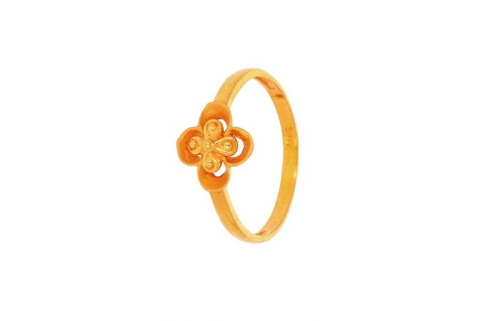 Glossy Matte Finish Floral Design Gold Ring