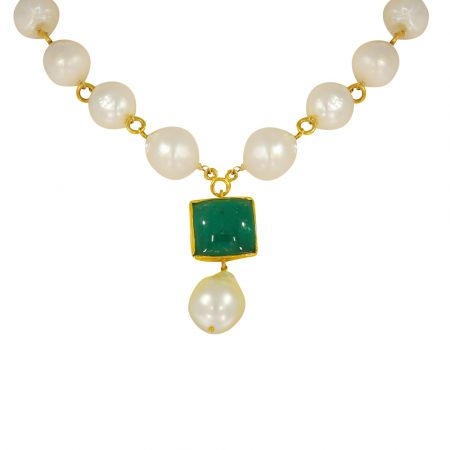 Classy Natural Emerald Pearl Gold Necklace