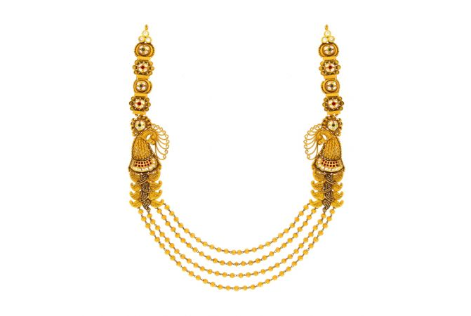 Ceremonial Textured Peacock Gold Kundan Gemstone Necklace