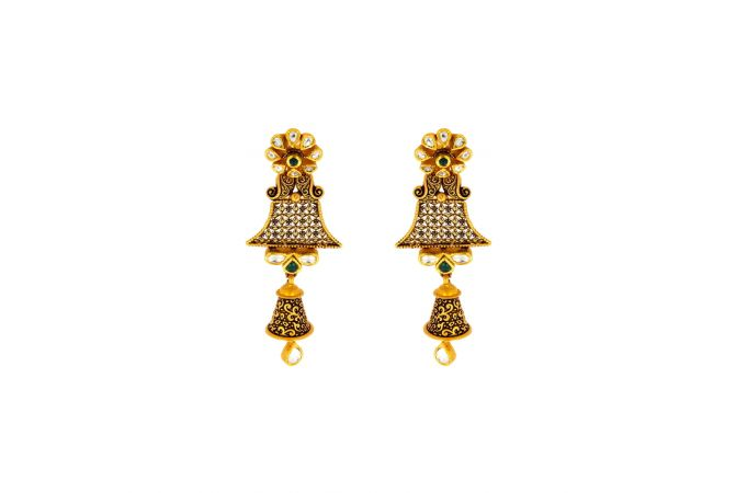 Antique Floral Dangler Kundan Gold Earrings