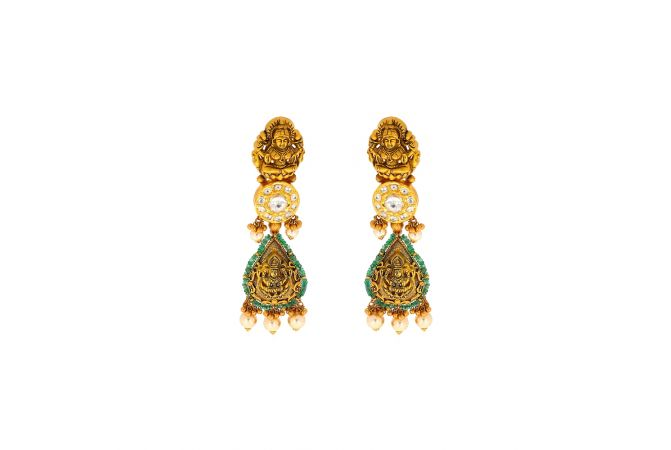 Antique Temple Dangler Kundan Pearl Earrings