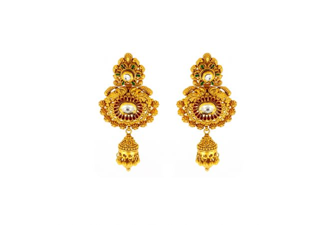 Ceremonial Textured Embossed Gemstone Kundan Earrings