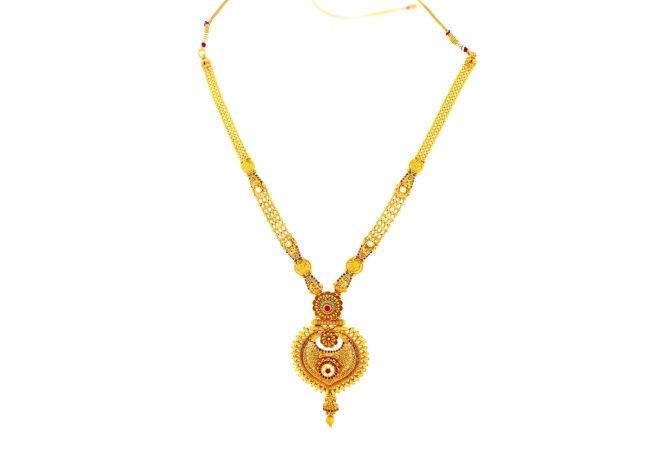Classical Textured Kundan Gemstone Gold Necklace