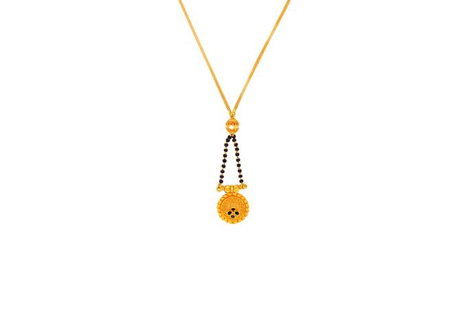 Classy Embossed Enamel Floral Knot Gold Mangalsutra
