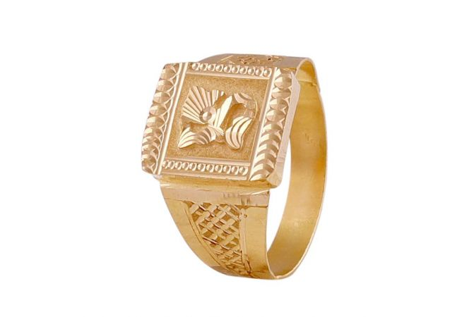 Glossy Finish Embossed Floral Design Diamond Cut Mens Gold Ring -GR215278