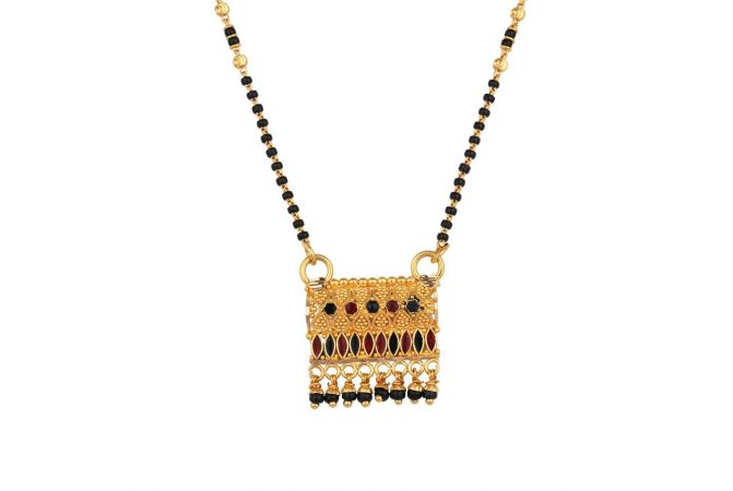 Glossy Finish Embossed Multicolour Enamel Drop Gold Mangalsutra - GT1304066