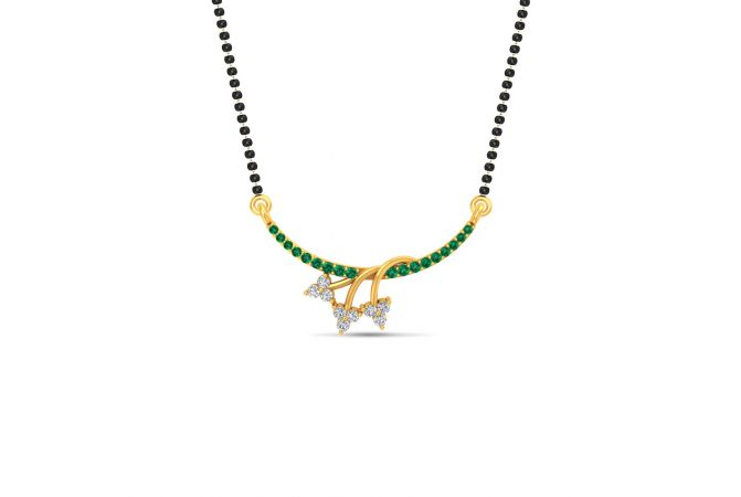 Glossy Finish Overlapping Twig Design CZ Studded With Synthetic Colour Stone Gold Tanmaniya