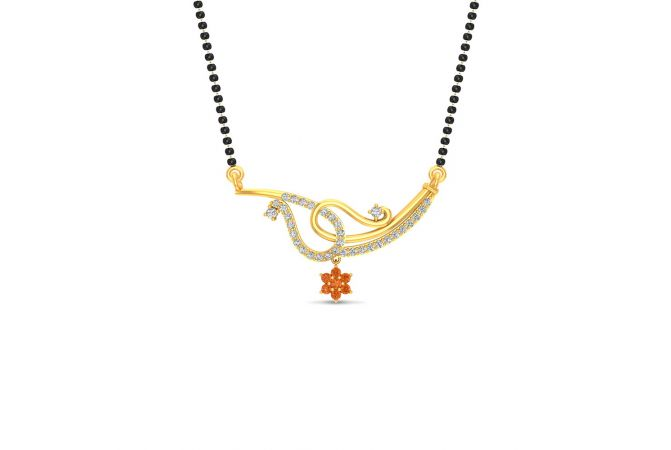 Glossy Finish Assymetric Drop Floral Design CZ Studded With Synthetic Colour Stone Gold Tanmaniya