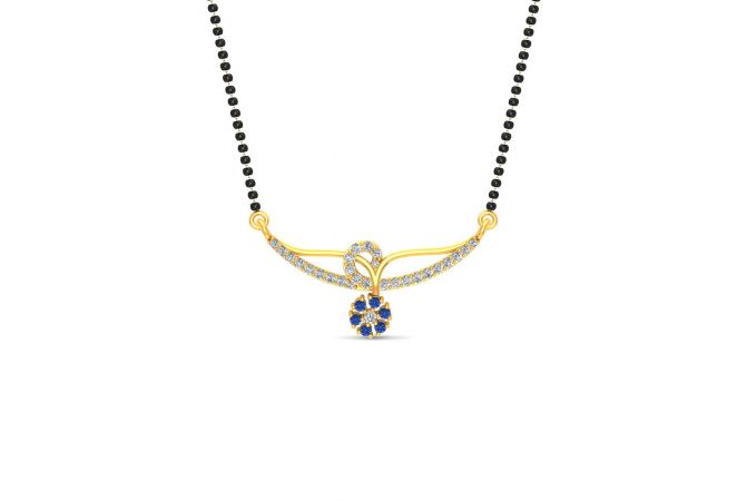 Glossy Finish Designer Floral CZ Studded With Synthetic Colour Stone Gold Tanmaniya