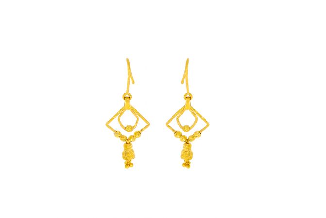 Elite Dangler Textured Bead Gold Earrings