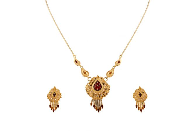 Glossy Matte Diamond Cut Finish Drop Multilayer Enamel Gold Necklace Set   - HRJ919