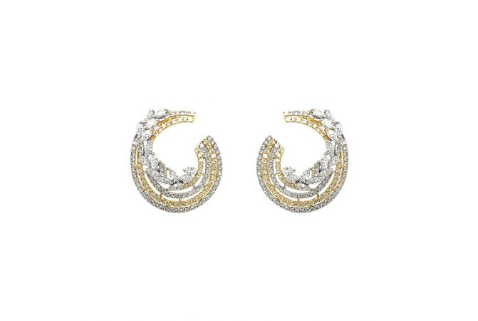 Sparkling Pave Prong Set Fornt To Back Design Diamond Earrings