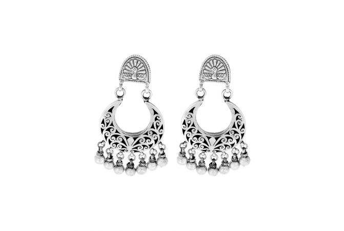 Traditional Peacock Engraved Silver Earrings