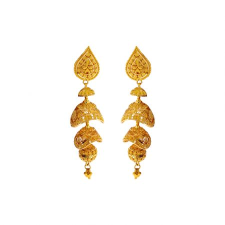 Traditional Embossed Bead Gold Jhumki