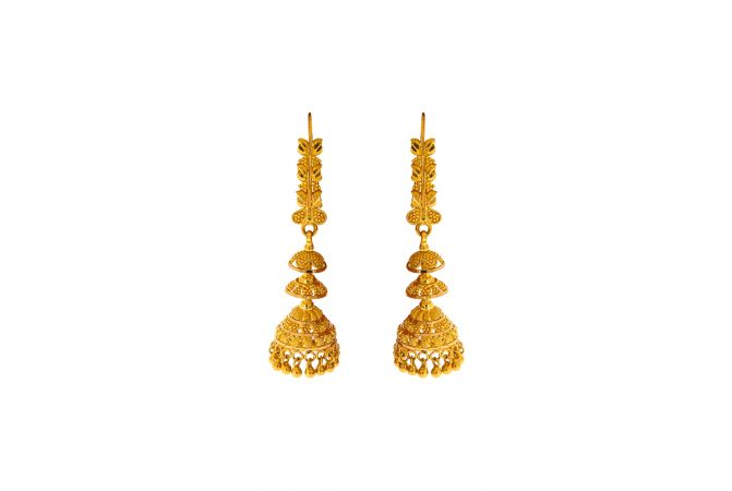 Traditional Embossed Gold Bead Jhumki