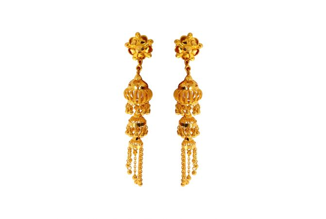 Traditional Floral Dettachable Gold Jhumki