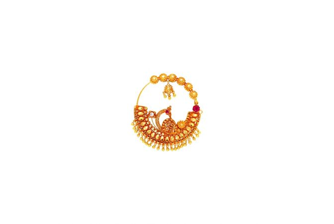 Classic Traditional Gemstone Peacock Floral Gold Nose Ring