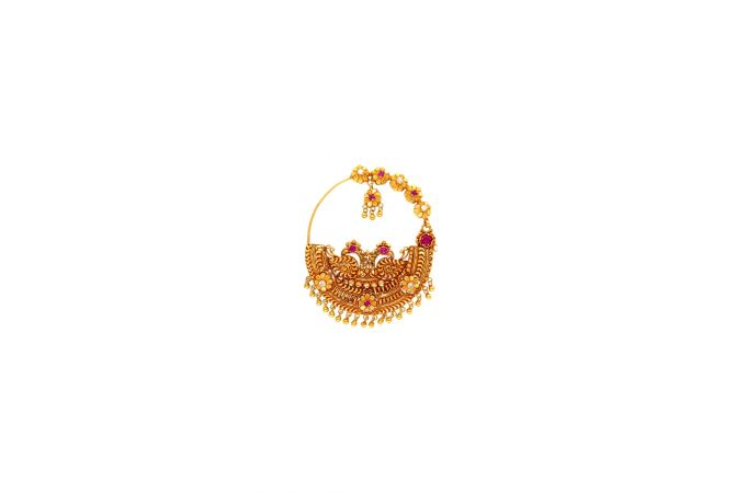 Classy Textured Floral Gemstone Peacock Gold Nose Ring