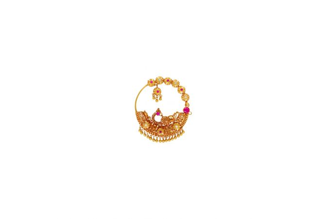 Traditional Textured Floral Peacock Gemstone Gold Nose Ring
