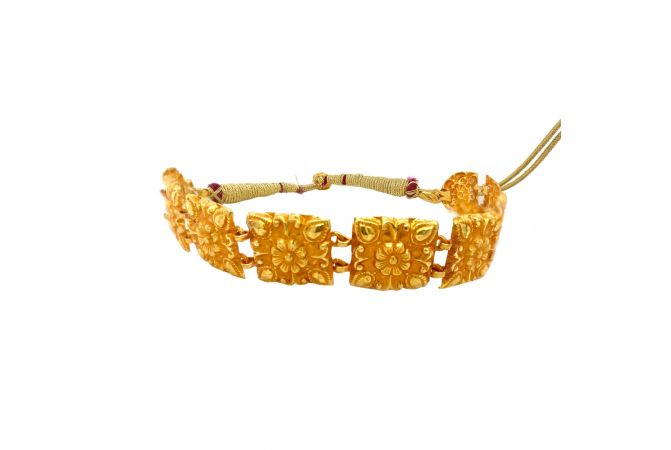 Traditional Embossed Floral Gold Chocker Necklace
