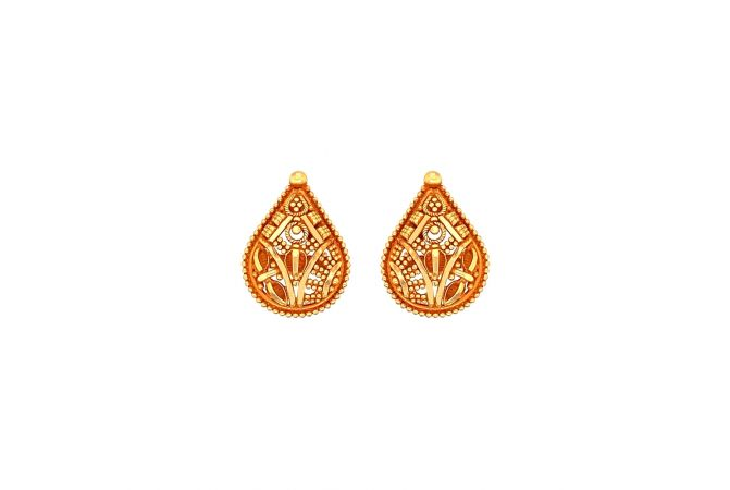 Classic Textured Embossed Gold Earrings