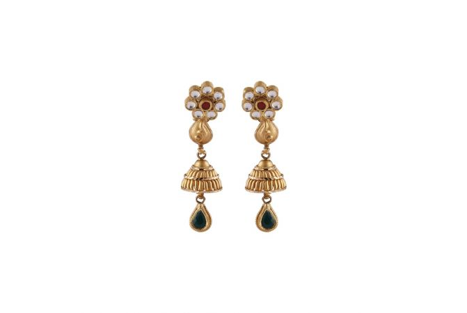 Matte Satin Finish Floral Leafy Design Studded With Kundan Polki Gold Jhumki Earrings -JU152976