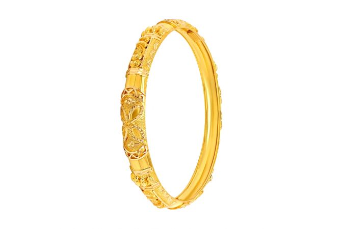 Ceremonial Textured Gold Bangle