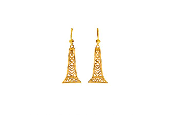 Elegant Embossed Bead Cutout Hook Gold Earrings