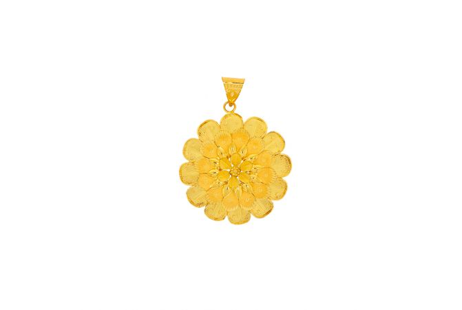 Blooming Floral Textured Gold Pendant