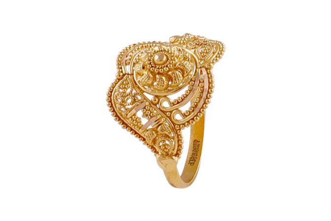 Embossed Beads Traditional Design Gold Ring-LR165249