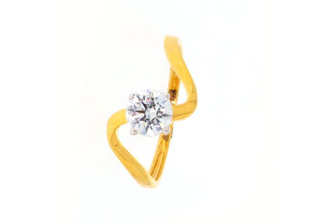 Matte Finish Curved Design Studded Solitaire CZ Gold Ring-LR2919