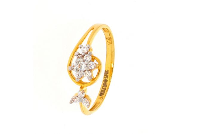 Glossy Finish Floral Design With CZ Studded Gold Ring-LR2985
