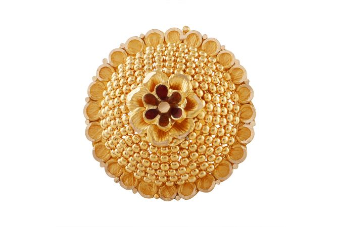 Glossy Floral Enamel Embossed Gold Beads Cocktail Ring - LR4749